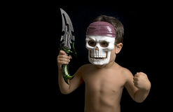 Little boy imitating a warrior Stock Photos