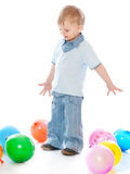 Little Boy In Balloons Royalty Free Stock Images