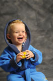 Little Boy In Blue Bath Robe Stock Image