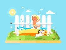 Free Little Boy In Garden Pool Having Fun Stock Image - 73688411