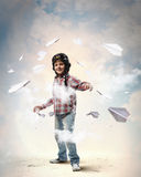 Little Boy In Pilot S Hat Royalty Free Stock Photography
