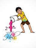 Little boy for Indian festival, Holi celebration. Stock Photo