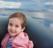 Little boy in the inflatable boat Royalty Free Stock Photo