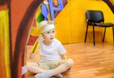 Little boy involved in performance children`s theatre Studio royalty free stock photography