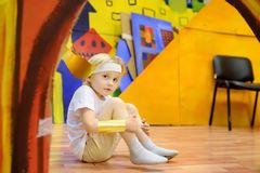 Little boy involved in performance children`s theatre Studio stock photography