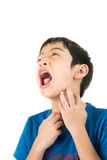Little boy itchy his mouth on white background Royalty Free Stock Image