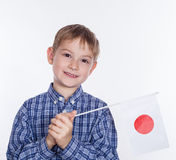 A little boy with Japanese flag royalty free stock photo
