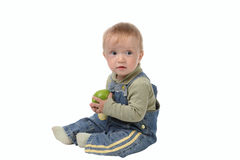 Little boy in jeans overalls Royalty Free Stock Image