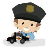 Little Boy jest ubranym Milicyjnego mundur podczas gdy bawić się samochód policyjnego ilustracji