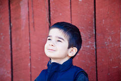 Little Boy Joyfully Gazing Up at the Sky Royalty Free Stock Photos