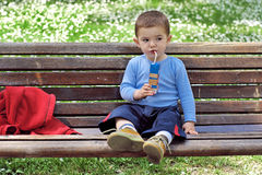 Little Boy with Juice Royalty Free Stock Images