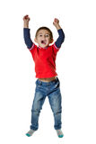 Little boy jumping isolated in white stock photography