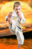 Little boy karate shows the techniques of the Japanese martial art of karate at sunset in the mountains. Training of young athlete. Training of young athletes stock photo