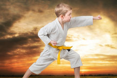 Little boy karate shows the techniques of the Japanese martial art of karate at sunset in the mountains. Training of young athlete. Training of young athletes stock photography