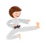 Little boy karateka icon Stock Photo