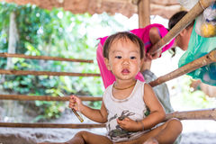 Little boy at Karen Long Neck hill tribe village in Chiang Mai, Thailand Stock Images