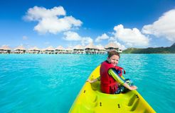 Little boy kayaking Royalty Free Stock Photography