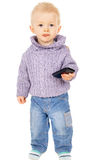 A little boy keep a mobile phone Stock Images