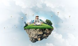 Little boy keeping mind conscious. Royalty Free Stock Photo