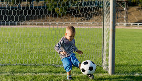 Little boy kicking a ball Stock Image