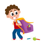Little boy, kid going to school with big schoolbag Royalty Free Stock Photo