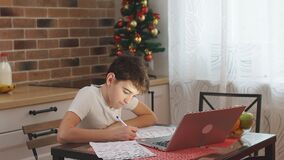 Little boy kid studying at home