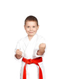 Little boy in a kimono on a white background Royalty Free Stock Image