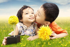 Little boy kiss his sister on the meadow Royalty Free Stock Images