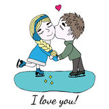 Little boy kissed girl on skate with heart Royalty Free Stock Photo