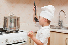 Little boy on kitchen Royalty Free Stock Photography