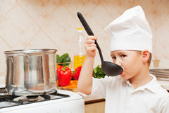 Little boy on kitchen Royalty Free Stock Images
