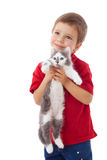 Little boy with kitty in hands Stock Photos