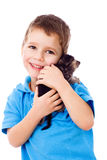 Little boy with kitty on shoulder Stock Images