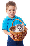 Little boy with kitty in wicker Stock Photos