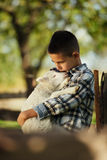 Little boy with lamb Royalty Free Stock Photos