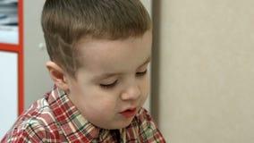 Little boy laughing closeup stock video