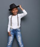 Little boy laughing with hat Royalty Free Stock Image