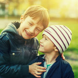 Little boy laughing Stock Photo