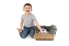 Little boy laughing playing Stock Images