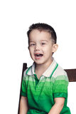 The little boy laughs at the camera close up  Stock Photo
