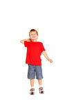 The little boy launching up paper plane Stock Photography
