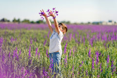 Little boy on the lavender field Royalty Free Stock Image