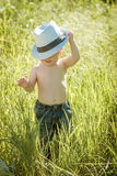 Little boy on the lawn, a child for a walk outdoors Royalty Free Stock Photo
