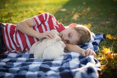 A boy snuggling with his cute little puppies. A little boy laying on a blue and white checkered blanket petting several small tan puppies who are snuggled up royalty free stock photos