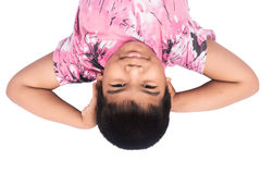Little boy laying on floor isolate Royalty Free Stock Images