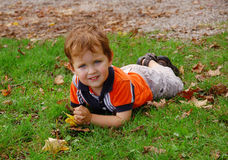 Little boy laying on the grass. Little boy 2-3 years old having fun laying on the grass Royalty Free Stock Photography