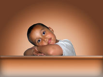 Little Boy Leaning Royalty Free Stock Images