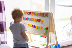 Little boy learning alphabet Royalty Free Stock Photo