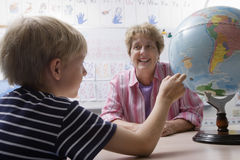 Little Boy Learning Geography Stock Photography