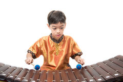 Little boy learning Thai instument Xylophone, Ranat, on white background. Little boy learning Thai instument Xylophone, Ranat Royalty Free Stock Images